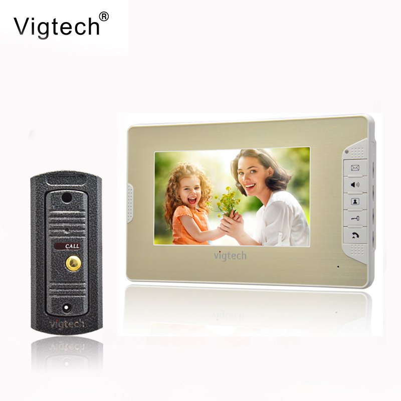 Vigtech7`` video intercom video doorphone speakerphone intercom system white monitor outdoor with waterproof & IR camera rfid keyboard ip65 waterproof video doorphone intercom system for 3 apartments with 7 color lcd video intercom system in stock