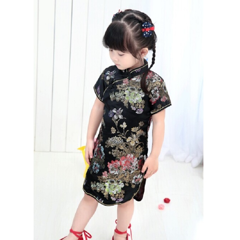 Peony Black Girl Fashion Dress New Year Gift Chinese Qipao For Young Girl 2-16Years Girl Vestidos Children Clothes Top Quality