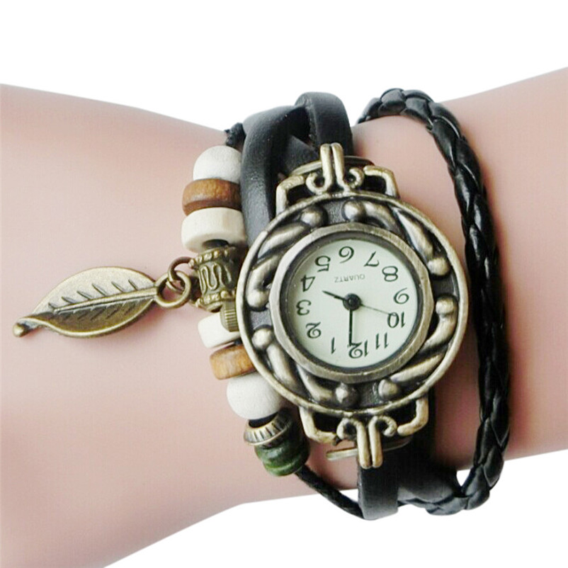 Top Luxury Women Watches Retro Leather Winding Bracelet Leaf Pendant Watch Relogio-feminino @5