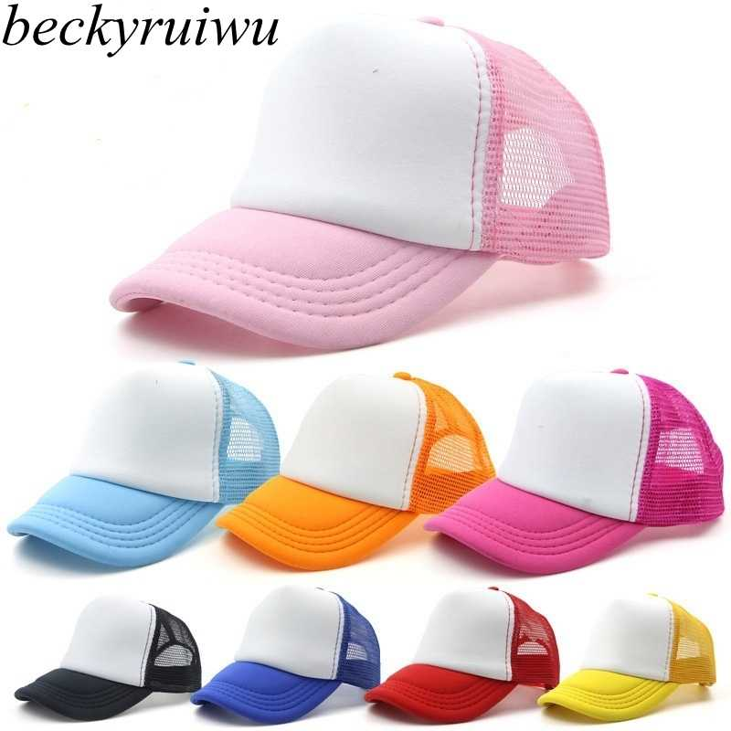 114b866f94d6f Detail Feedback Questions about Beckyruiw Wholesale Children Solid Color  Mesh Baseball Caps Boy and Girl Plain Sun Cap Kid DIY Customized Trucker Hat  on ...