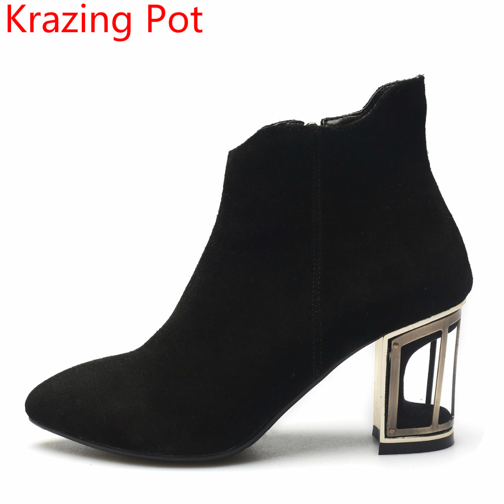 2018 Superstar Cow Suede Birdcage Winter Boot Hollow Fretwork High Heels Zipper Pointed Toe Sweet Fashion Women Ankle Boots L86 2018 fashion winter shoes cow suede high heels solid pointed toe zipper handmade warm european style sweet women ankle boots l26