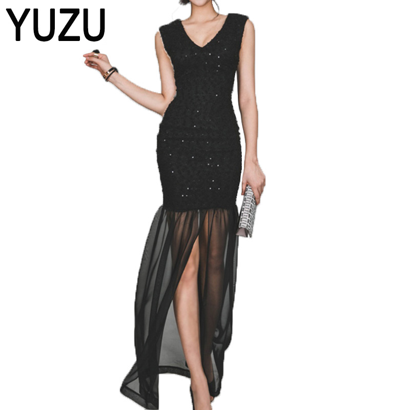 Buy Cheap Dresses brazil Sequin Black Sexy V Neck Sleeveless Perspective Maxi Dresses High Split Mesh Evening Party Dress Vestidos