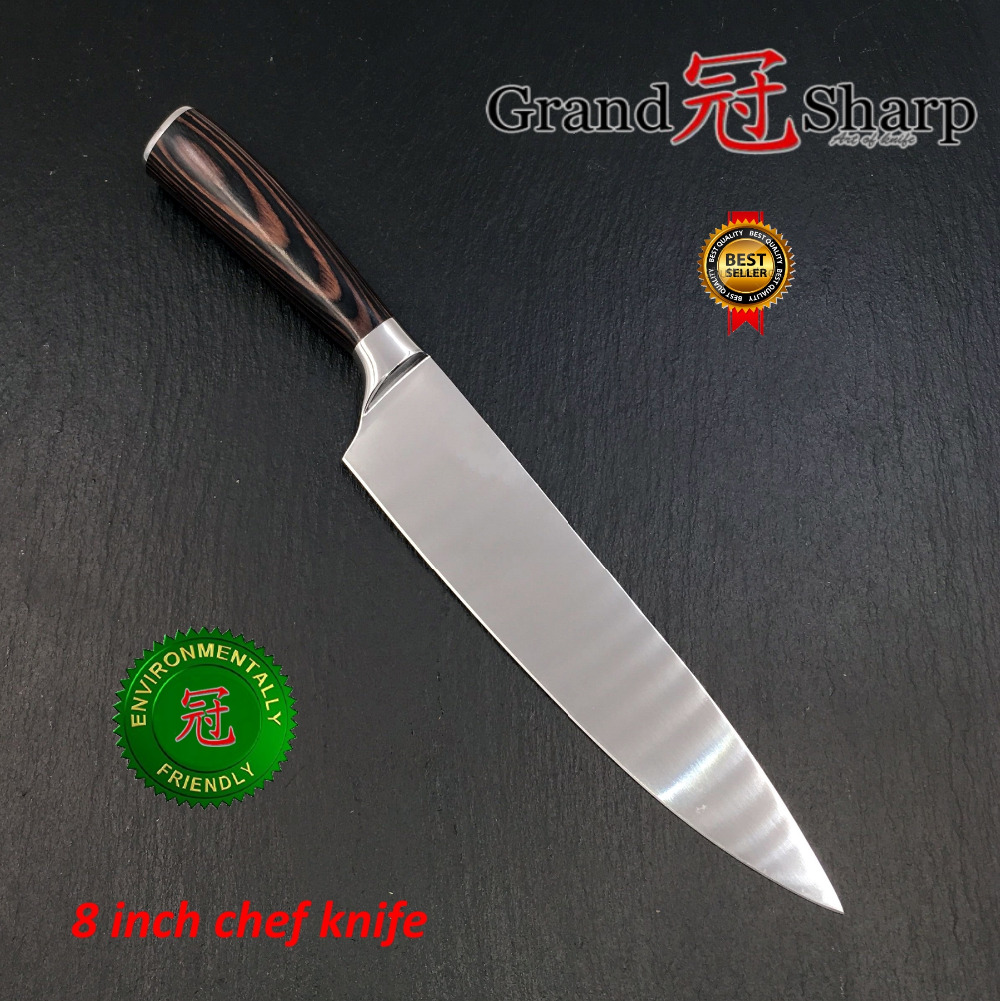 Image 2 - GRANDSHARP 8 Inch High Quality Chef Knife High Carbon AUS 8 Japanese Stainless Steel Pakka Handle Kitchen Knife Cooking Toolschef knifekitchen knifeknife cooking -