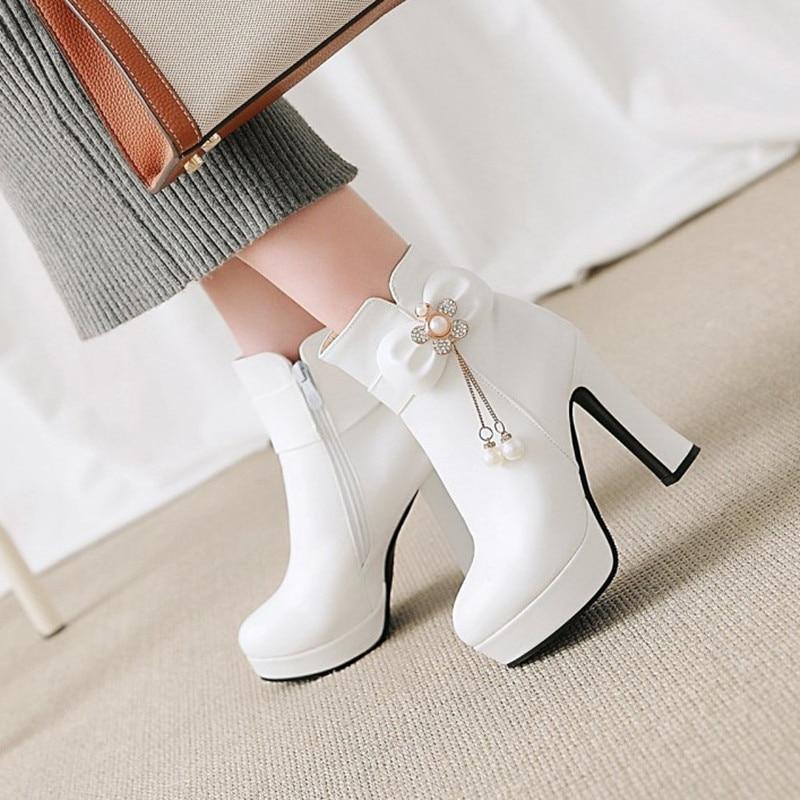 bb3d8fc3d4 Moda Zapatos De Black Mujeres Tamaño Tacones Gran Otoño Botas Plataforma  Sexy Del Rhinestone Perla white ...