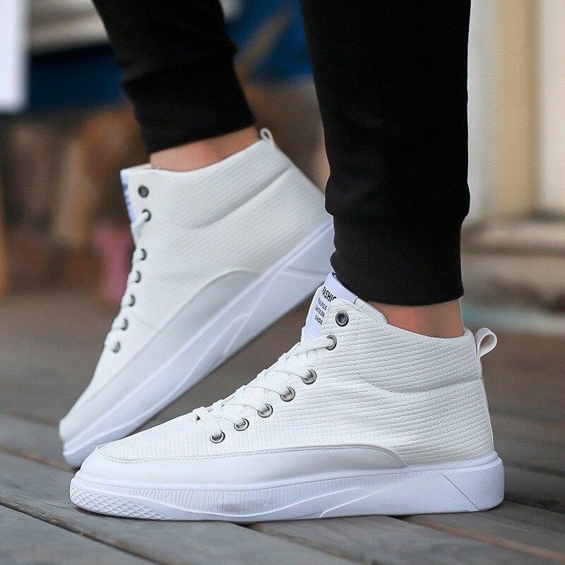 En bleu Blanc blanc Mode Britannique Décontracté Style À Top 2019 Sneakers Noir Hommes Pour Cuir Lacets De High Mens Noir Bleues Luxe Chaussures YBqd1qx
