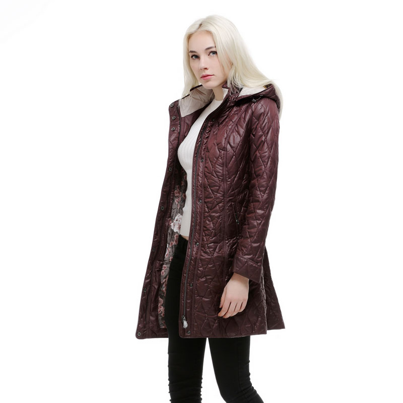 autumn winter jacket women long design full Sleeve Hoodie blue and purple warm coat For Europe