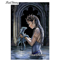 REALSHINING Diamond Embroidery Fantasy Dragon 5D Diy Diamond Painting Full Square Diamond Mosaic Cross Stitch Home