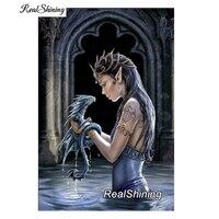 REALSHINING Diamond Embroidery Fantasy Dragon 5D Diy Diamond Painting Full Square Diamond Mosaic Cross Stitch Home