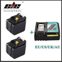 2x ELEOPTION 6000 мАч 14.4 В литий ионный Батарея для Makita BL1430 bl1415 194066 1 194065 3 194559 8 с 6.5a быстрого Зарядное устройство