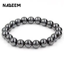 Модные черные магнитные гематит 6/8/10 мм каменные бусины браслет