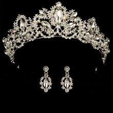 Diadema de corona de boda para mujer, diadema de Reina para novias, diadema de cumpleaños con pendientes, banda barroca para la cabeza, adorno de joyas para el pelo