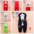Newest 2016 Autumn Baby Girls Boys Suits Infant/Newborn Clothes Sets Kids Vest+T Shirt+Pants 3 Pcs Sets Children Suits