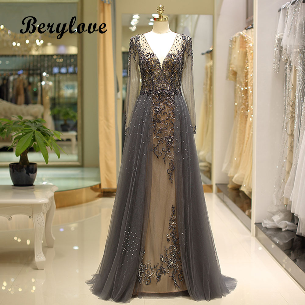 BeryLove gris robes De soirée formelles avec manches longues col en V perles cristaux robes De soirée 2018 Robe De bal Robe De soirée