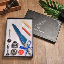 BNB European Pointed Feather Office Pen Water Retro Personality Signature Dip Gift Box Writing Tool Birthday