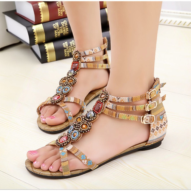 Womens Heeled Sandals - Vintage Ladies Summer Bohemian Platform Sandals Ankle Wrap Shoes