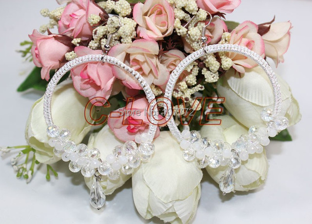 @@~~ Natural White Crystal Wedding Earring  free+ shippment +hand made
