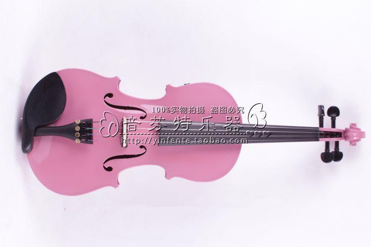 one pink  4 -String 4/4 New Electric Acoustic Violin    #1-2504# ican make any color 4 4 high quality 5 string electric violin yellow 2 pickup violin