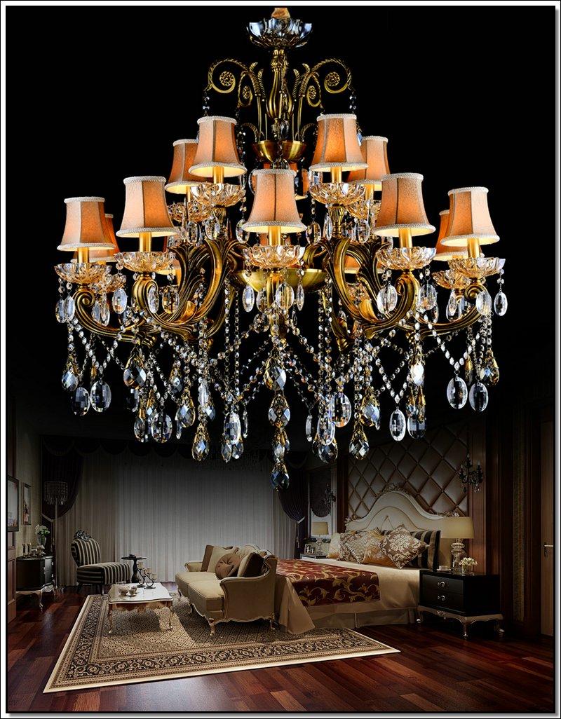VROČE! Veliki kristalni lestenec svetilka starinska medenina Velika - Notranja razsvetljava - Fotografija 4