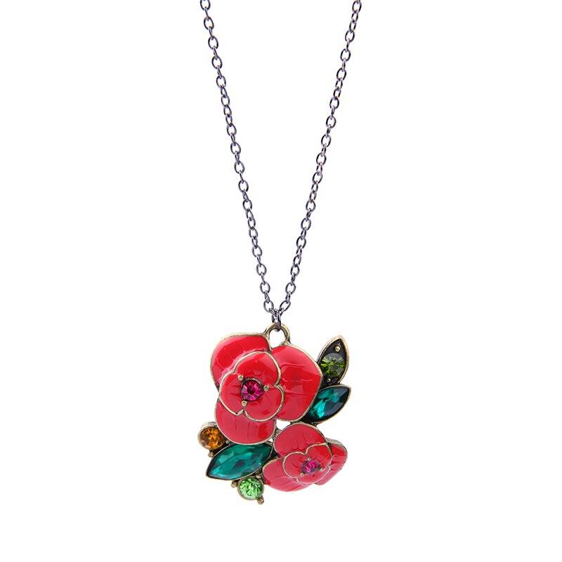 Multi Couleur Rose Fleur Collier Argent Or Couleur Chaine Collier