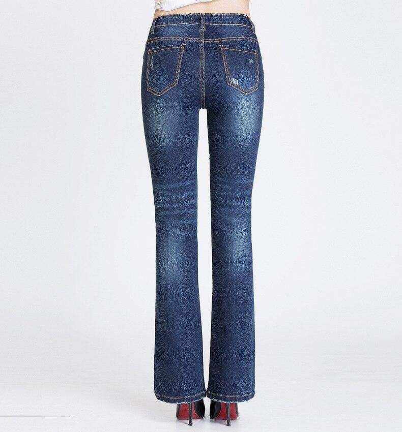 KSTUN FERZIGE Jeans Women Dark Blue Boot Cut Embroidered Hollow Out Flared Pants High Waist Stretch Long Trousers Mom Jeans Push Up 36 18