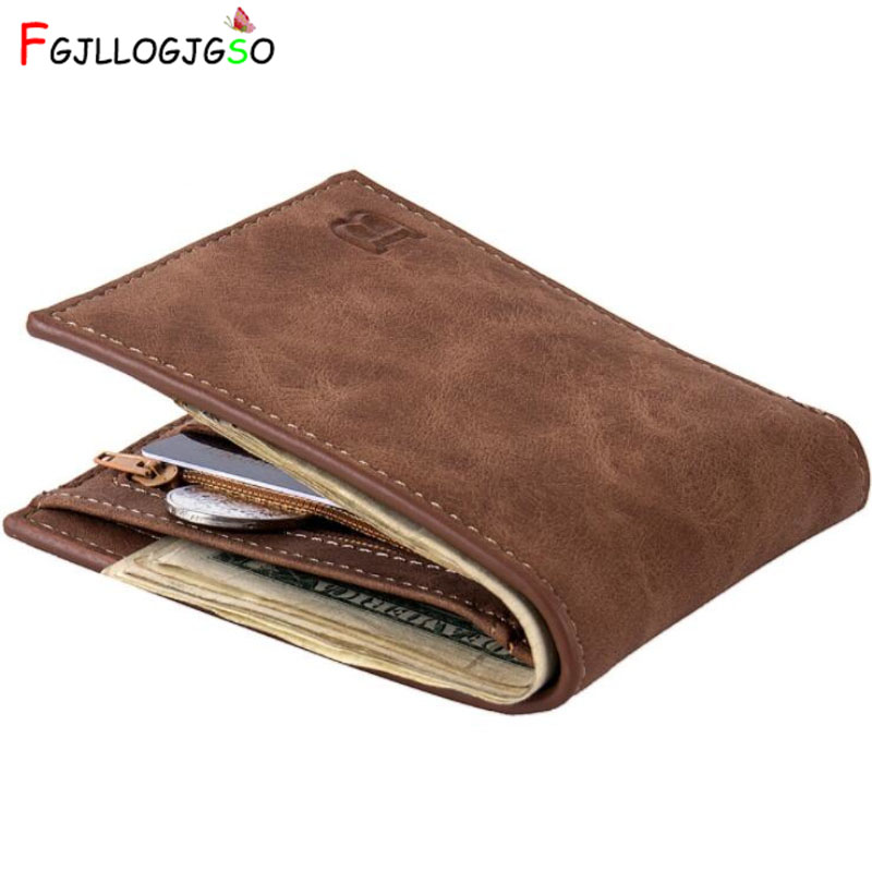 FGJLLOGJGSO Fashion Men Wallets Small Wallet For Money Purse Coin Bag Zipper Short Male Card Holder Slim