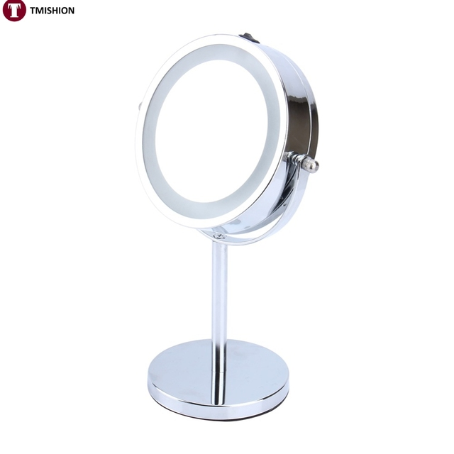 Oversea 6inch 5X Magnifying LED Makeup Mirror Round Illuminated Bathroom Make Up Cosmetic High Clear Shaving