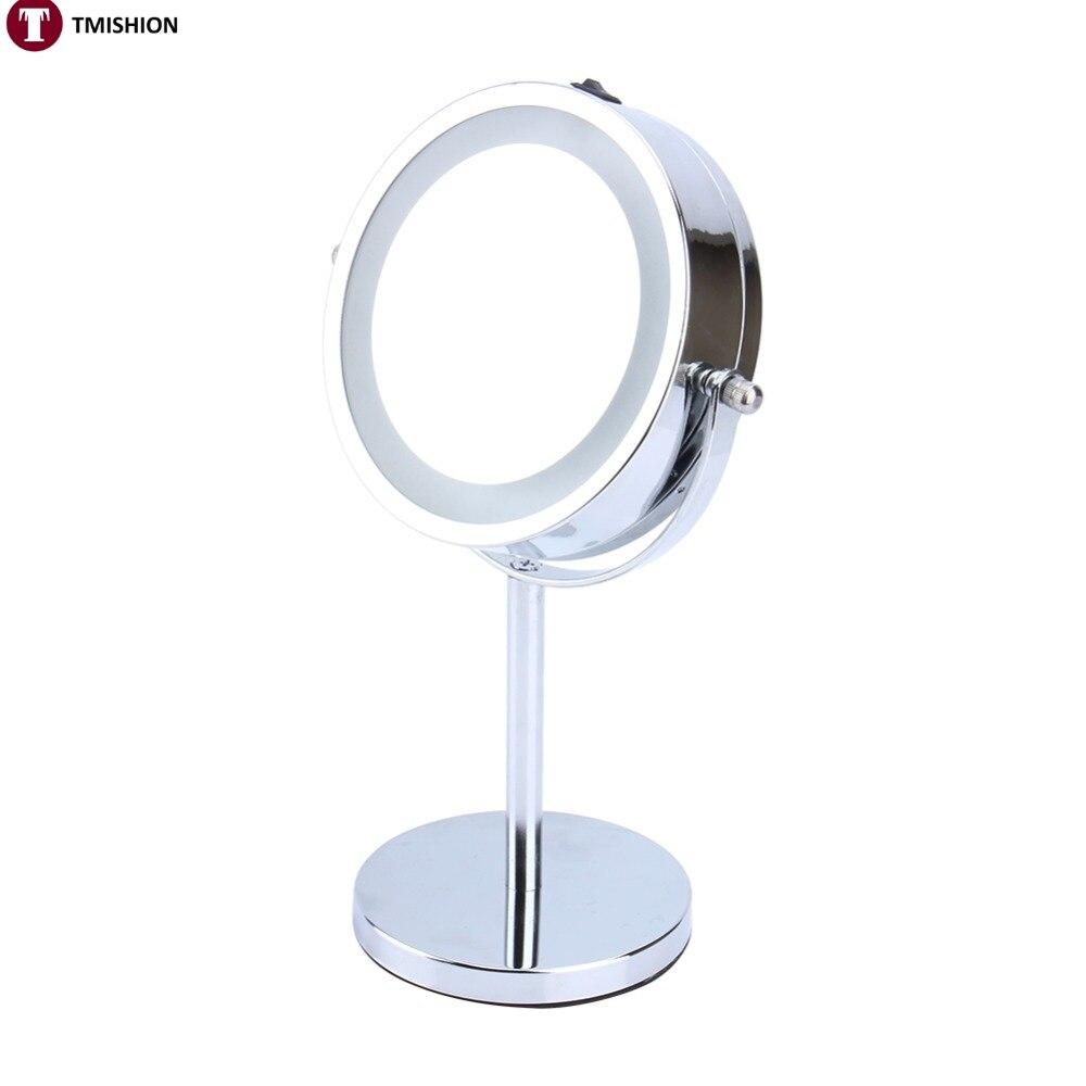 Oversea 6inch 5X Magnifying Round LED Illuminated Bathroom Make Up Cosmetic Shaving Mirror