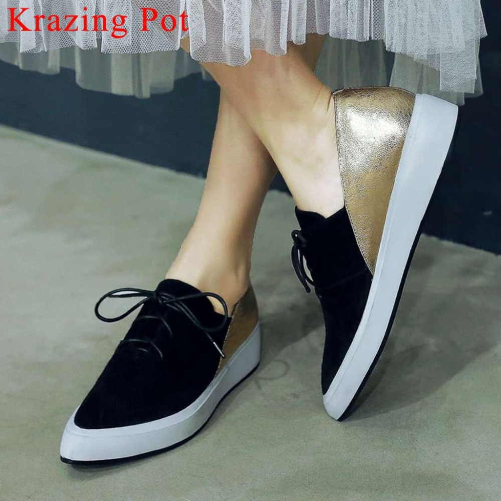 2019 genuine leather concise woman sneakers pointed toe lace up med bottom platform loafers mixed colors