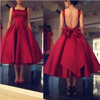 Cute Custom Made Bow Backless Prom Dress Ball Gown Tea Length Red Evening Party Dresses Cheap Dress for Graduation 2019