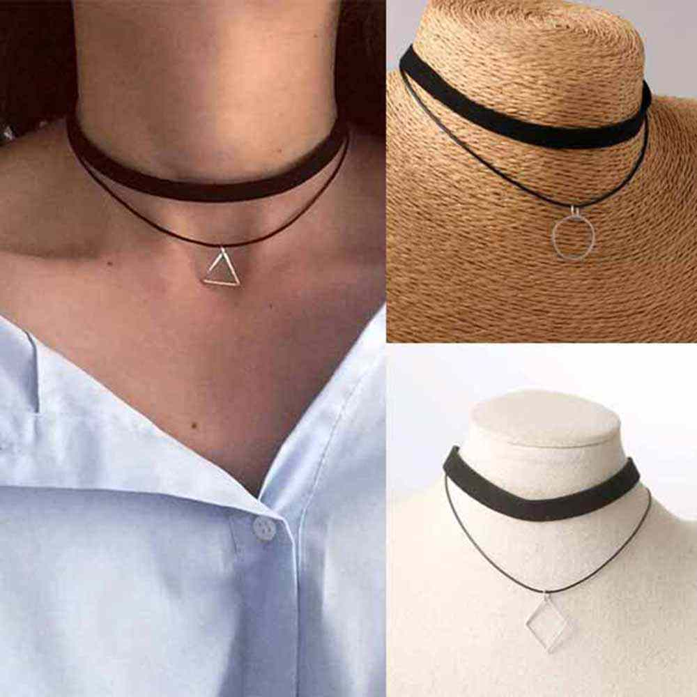 2017 Hot new multilayer necklace bijoux geometric triangle pendant necklace Maxi statement Chokers Necklace for women jewelry