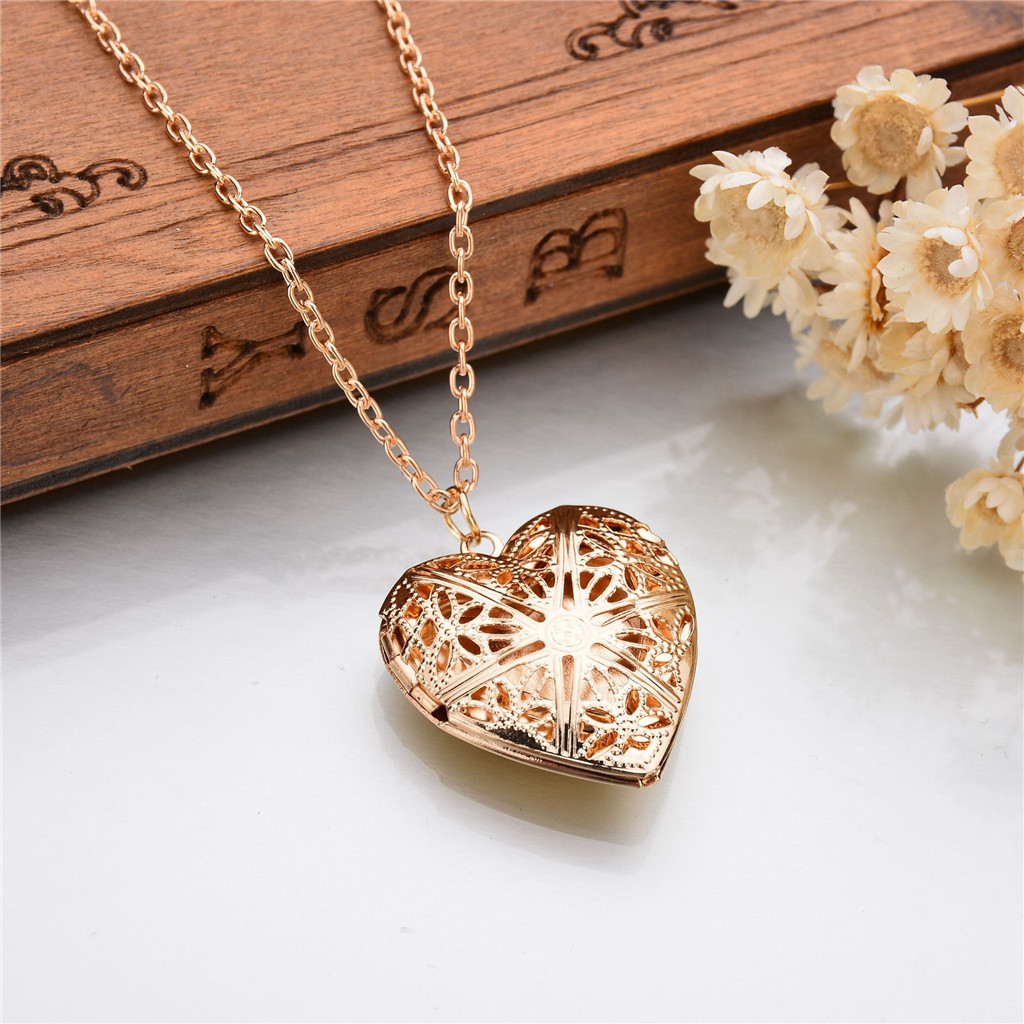 Frauen Herz Medaillon Halskette Edelstahl Foto Rahmen Speicher Romantische Liebe Anhänger für Weibliche Versprechen Andenken Geschenk # X