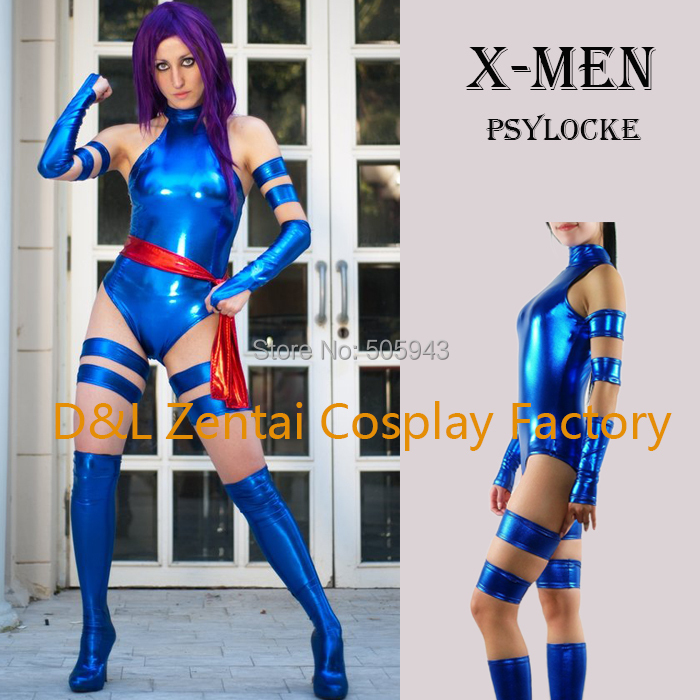 Free Shipping DHL 2014 Adult X Men Psylocke Elizabeth Betsy Braddock Costume Blue Shiny Metallic Halloween