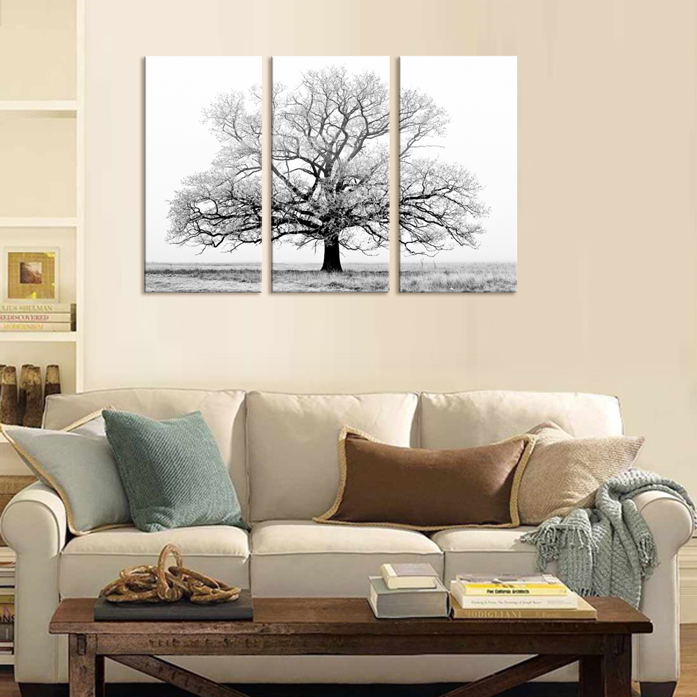 Black and White Tree Picture Painting Canvas Wall Art Wall Decor ...
