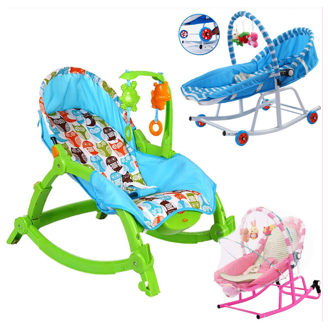 Newborn Baby Rocking Chair Comfort Toddler Cradle Deck Chair Sleeping Swing Lounge Chair Bouncers with Music Pillow Summer Mat
