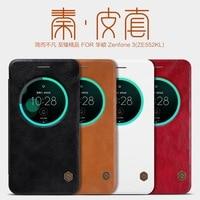 Nillkin Qin Orijinal Gerçek Doğa Deri Flip Kapak Kılıf görünüm penceresi ile Asus Zenfone 3 Için ZE552KL Perakende Paketi
