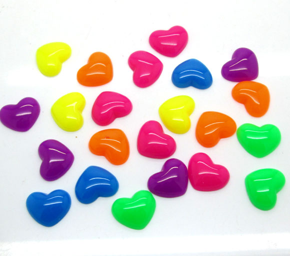 50Pcs Mixed Resin Heart Decoration Crafts Kawaii Bead Flatback Cabochon Fridge Magnet Scrapbook DIY Accessories Buttons