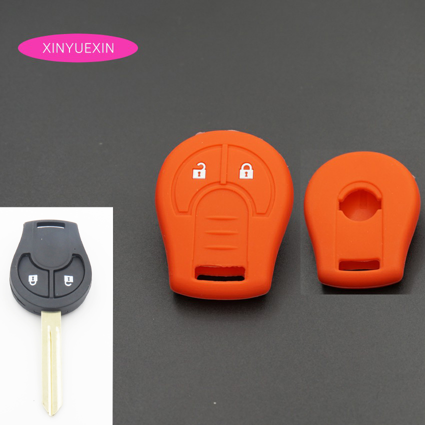 Xinyuexin Silicone Car Key Cover FOB Case For Nissan Juke Note Micra Cube Qashqai Remote Key Wallet Case Car-styling 2 Buttons цена и фото