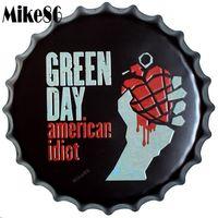 [Mike86] GREEN DAY American Idiot Fles Cap Iron Schilderen Vintage tin teken Pub Kamer Gift Party Winkel Muur Decor 40 CM BG-24