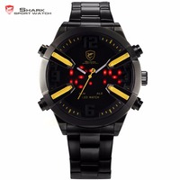 Dogfish Shark Sport Watch Yellow Date Alarm LED Dual Time Stainless Steel Bracelet Relogio Masculino Men