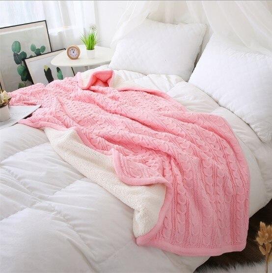 CAMMITEVER 180*120cm Soft Blankets for Beds Cotton Blanket Bedspread Bedding Knitting Patterns Blanket Comfy Sleeping Bed