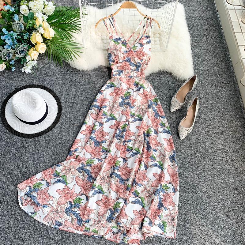 OCEANLOVE Bohemian Beach Style Summer Dress Women Back Hollow Out Print A-line Long Dresses 2019 Sexy High Waist Dress 11515