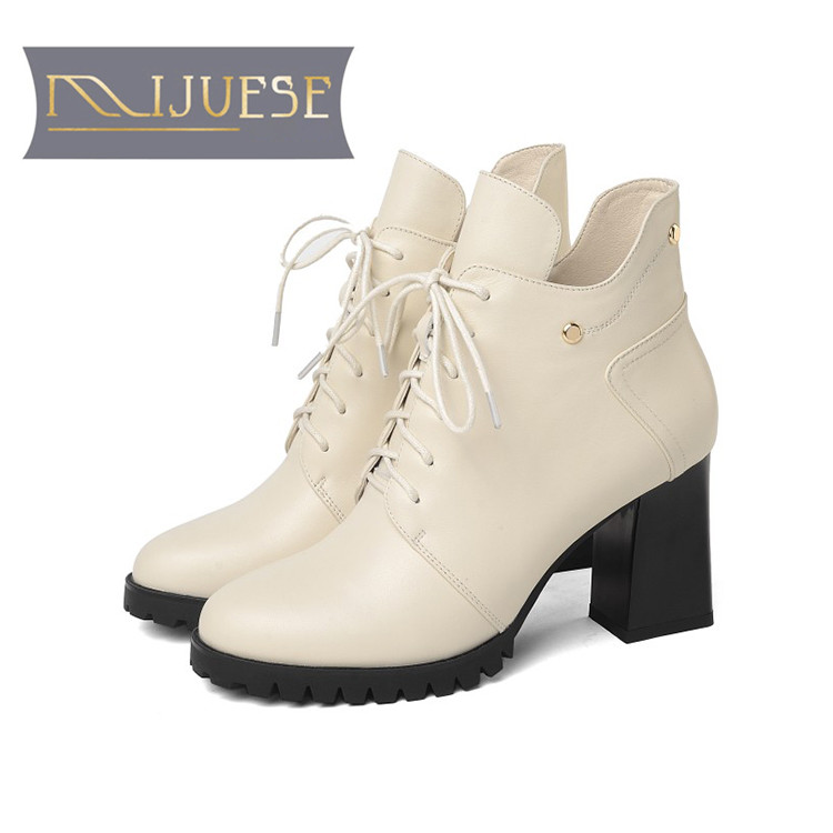 MLJUESE 2019 women Mid-calf boots cow leather autumn spring lace up high heels platform women boots motorcycle boots size 41 spring autumn women thick high heel mid calf boots platform woman short boots high heels shoes botas plus size 34 40 41 42 43