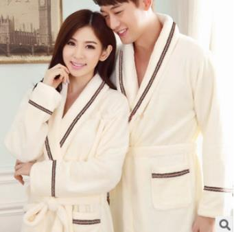 2016 новый зима женщины мужчины любители фланель ночной рубашке твердые халат с длинными рукавами гостиная халат пары утолщение теплый пижамы W144