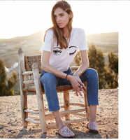 Summer High Quality New Women SexeMara Cotton T Shirt Chiara Ferragni Printed Big Eyes Casual Short Sleeves Tops