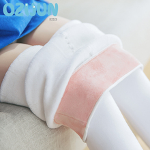 New 2020 Winter Kids Girl White Dance Warm Tights Children Velvet Solid Color Thick Pantyhose Elastic Waist  4-15 years Stocking