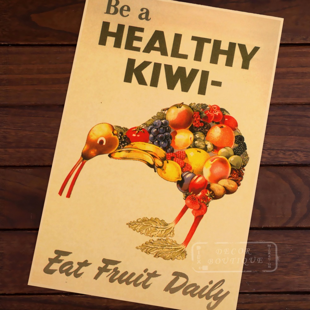 Healthy Kiwi Eat Fruit Daily New Zealand View Art Retro Vintage ...