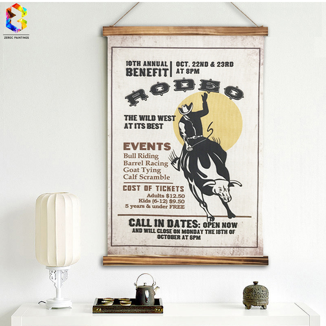 Vintage Rodeo Quotes Linen Painting Wooden Framed Home Decor Wall ...