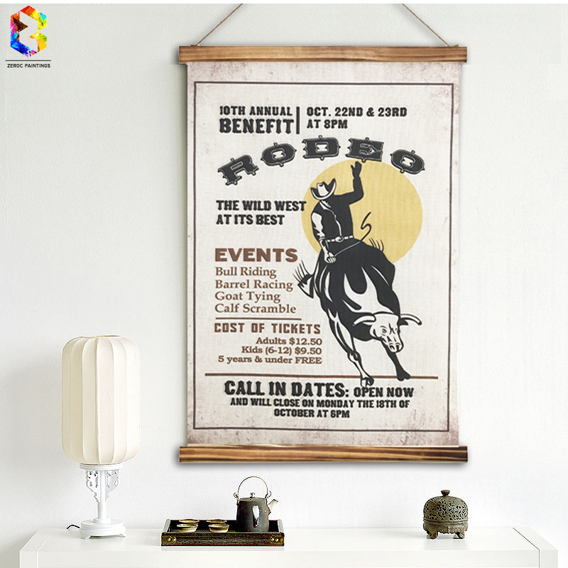 Zeroc Vintage Rodeo Quotes Linen Painting Wooden Framed Home Decor Wall Art Print Pictures Poster Wall
