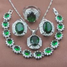 Unusual Green Zirconia Women's 925 Sterling Silver Crystal Jewelry Sets Bracelet Necklace Pendant Earrings Ring YZ0237