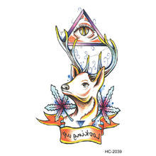 d1599d6c5 1 Pc Deer and Eye Waterproof Temporary Tattoo Sticker Totem Fake Tattoos  Body Art Flash Tattoo Wholesale
